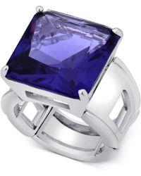 T Tahari - Silver-tone Purple Crystal Cocktail Stretch Ring - Lyst