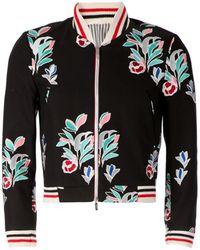 Thom Browne Floral Print Cropped Bomber Jacket - Lyst
