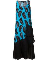 Thakoon Leaf Print Pleated Dress - Lyst