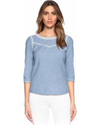 Maison Scotch Embroidered Chambray Top - Lyst