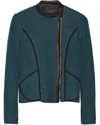 Yigal Azrouel Leather-trimmed Knitted Cotton Jacket - Lyst