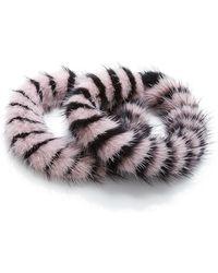 Mary Katrantzou - Pink And Black Mink Intarsia Twisted Bracelet - Lyst