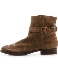 Sam Edelman Malone Distressed Suede Booties  Moss Green - Lyst
