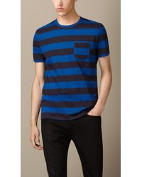 Burberry Patch Pocket Striped T-shirt - Lyst