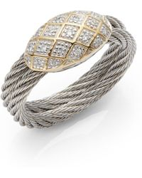 Charriol Celtic Classique Diamond 18k Yellow Gold Stainless Steel Cable Ring silver - Lyst