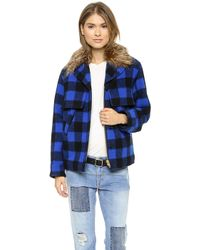Smythe Barn Jacket with Detachable Faux Fur Collar  Cobalt Check - Lyst