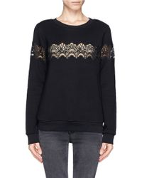 Sandro Torr Sheer Lace Trim Sweater - Lyst