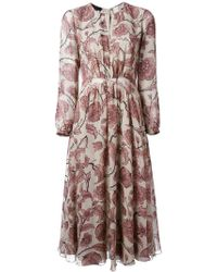 Burberry Prorsum Floral Print Dress - Lyst