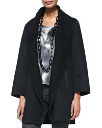Eileen Fisher Brushed Woolblend Coat W Ribbed Shawl Collar - Lyst