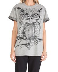 RED Valentino Gray Owl Tee - Lyst