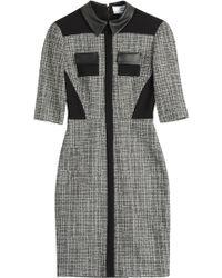 Prabal Gurung Tweed Dress With Leather Collar - Lyst