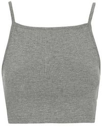Topshop Ribbed Crop Top - Lyst