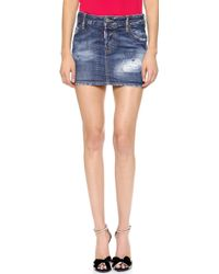 DSquared2 Denim Miniskirt  Blue - Lyst