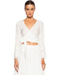 Zimmermann Gemma Embroidery Wrap Top - Lyst