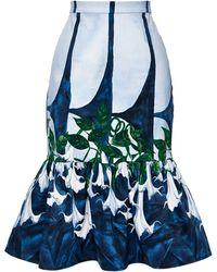 Isolda Dama Noite Midi Frilled Skirt - Lyst