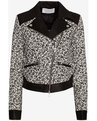 Thakoon Addition - Floral Patternleather Combo Moto Jacket - Lyst