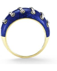 Gucci Pre-owned 18ky and Blue Enamel Ring - Lyst