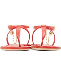 Alexander McQueen Red Leather Skull Chain Sandals - Lyst