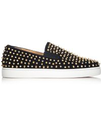 Christian Louboutin Rollerboat Embellished Suede Skate Trainers - Lyst