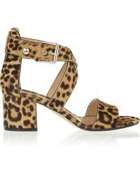 Gianvito Rossi Leopardprint Calf Hair Sandals - Lyst