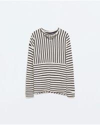 Zara Jewelled Combined Sweatshirt - Lyst