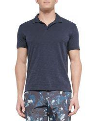 Theory Short-Sleeved Slub Polo Shirt - Lyst
