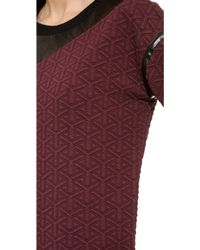 Ohne Titel - Quilted Sweatshirt With Leather Trim - Oxblood/Black - Lyst