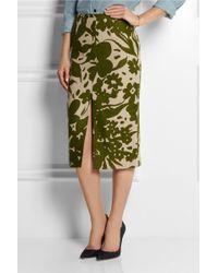 Michael Kors Printed Linen Pencil Skirt - Lyst