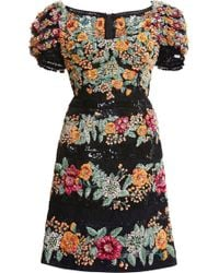 Marchesa Black Paillette and Floral Embroidered Cocktail Dress - Lyst
