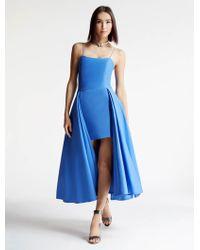 Halston | Silk Faille Hi-Lo Dress | Lyst
