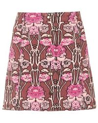 Topshop Rose Print Cord A-Line Skirt multicolor - Lyst