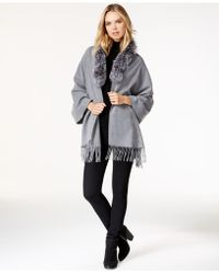 Surell - Fox Fur Collar Fringe Cape - Lyst