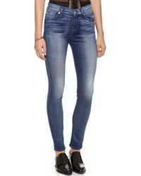 7 For All Mankind Mid Rise Skinny Jeans Lehrouche Authentic Blue - Lyst