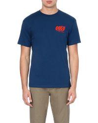 Obey Records Logo Tshirt Blue - Lyst