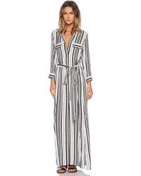 La't By L'agence Long Tie Waist Shirt Dress - Lyst