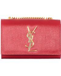 Saint Laurent Red Monogram Small Grain De Poudre With Chain Bag red - Lyst