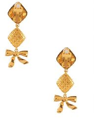 Chanel Pre-Owned Gold Quilted And Bow Dangle Earring - Lyst