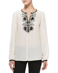 Nanette Lepore Contrasttrim Embroidered Silk Blouse - Lyst