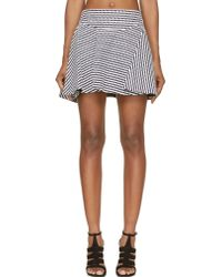 Jay Ahr Navy And White Eyelet Flare Skirt - Lyst