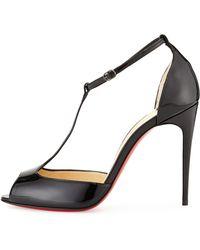 Christian Louboutin Senora Patent T-Strap Red Sole Sandal - Lyst