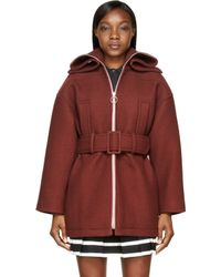 Carven Burgundy Wool Caban Coat - Lyst