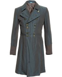 Comme des Garçons Washed Linen Chambray Military Coat gray - Lyst