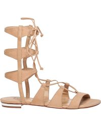 Schutz Elina Lightwood Nubuck Lace-Up Sandal beige - Lyst