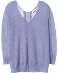 Rebecca Taylor Fuzzy Sheer Pullover With Lace - Lyst