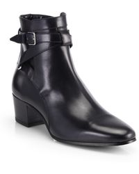 Saint Laurent Blake Belted Leather Ankle Boots - Lyst