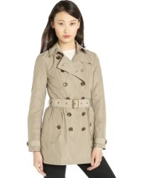 Burberry Brit Beige Stretch Belted Waist Long Sleeve Trench - Lyst