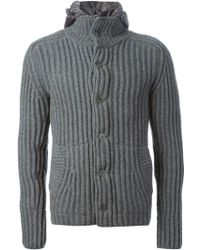 Herno Gray Ribbed Cardigan - Lyst