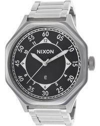 Nixon Mens Falcon Silvertone Steel Black Dial - Lyst
