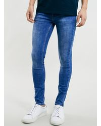 Topman Bright Marble Wash Spray On Skinny Jeans - Lyst