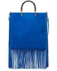 Gucci Bamboo Shopper Suede Fringe Tote - Lyst